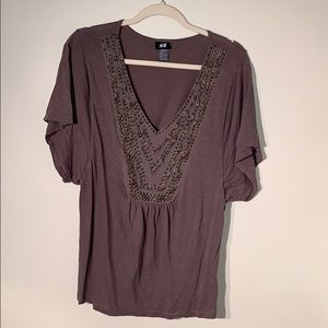 H&M Top with Embroidered Neckline
